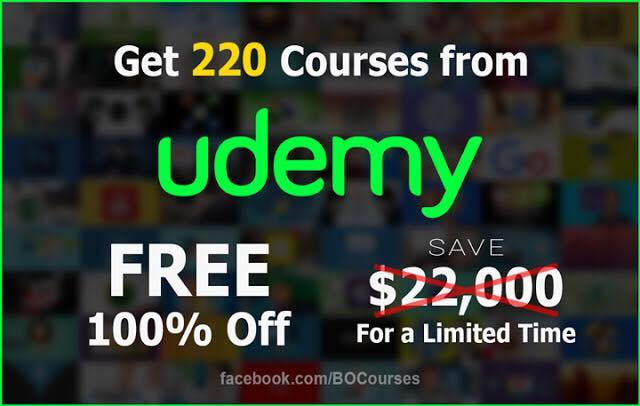Udemy offers free of charge courses for a limited time