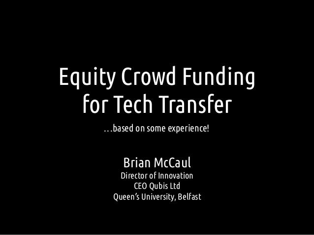 Equity Crowd Funding for Tech Transfer